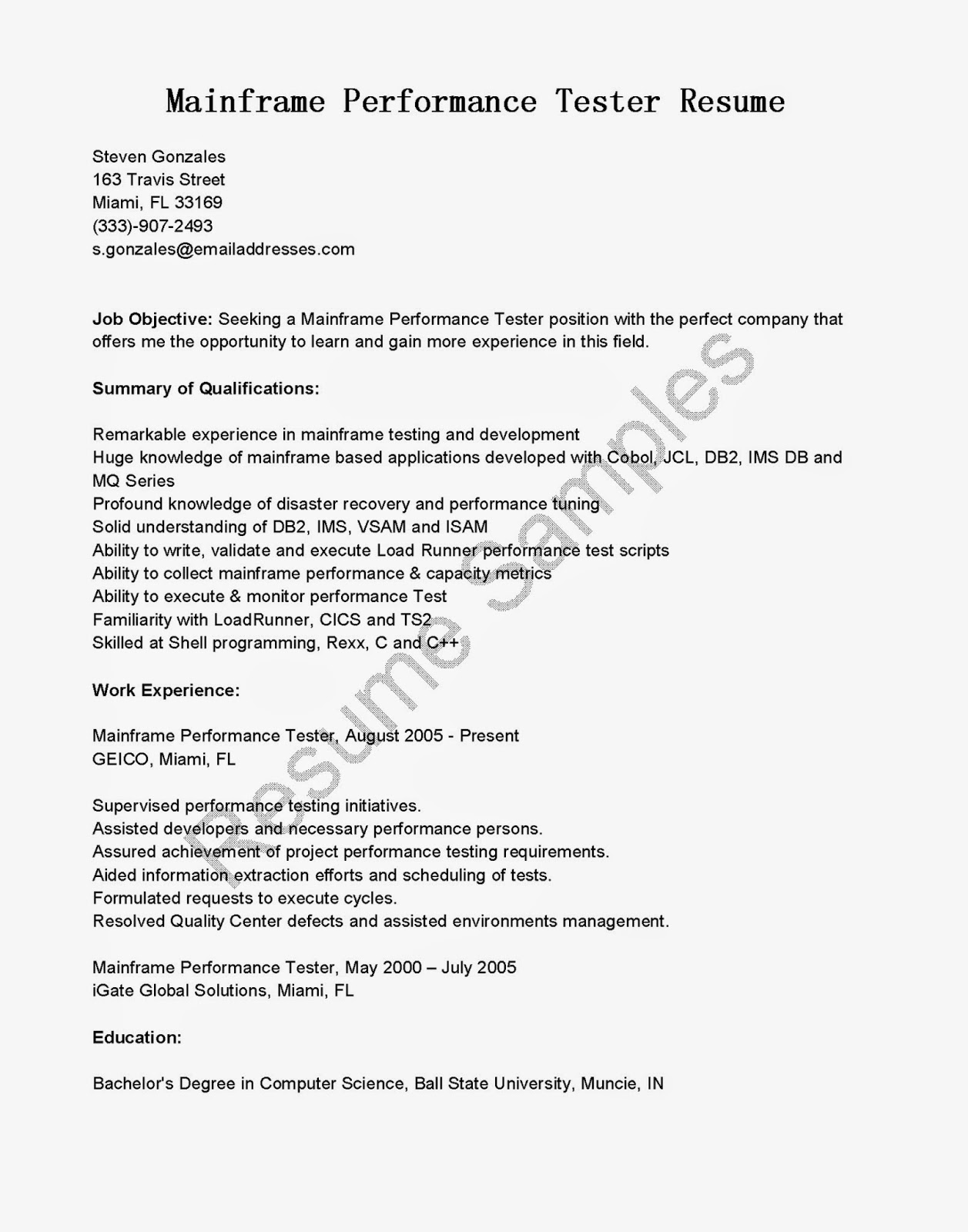 Performance Resume Example Resume Samples Mainframe Performance Tester Resume Sample