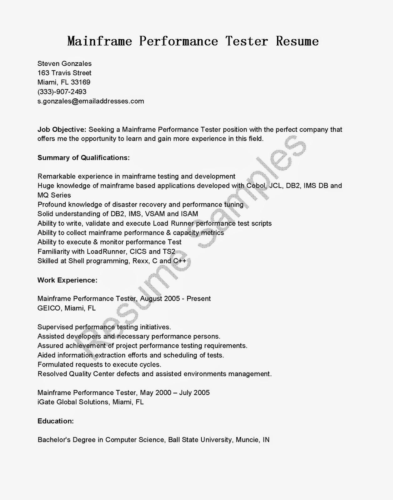 Mainframe Performance Tester Cover Letter - Cover Letter ...
