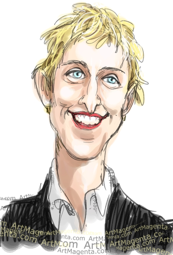 Ellen DeGeneres  caricature cartoon. Portrait drawing by caricaturist Artmagenta