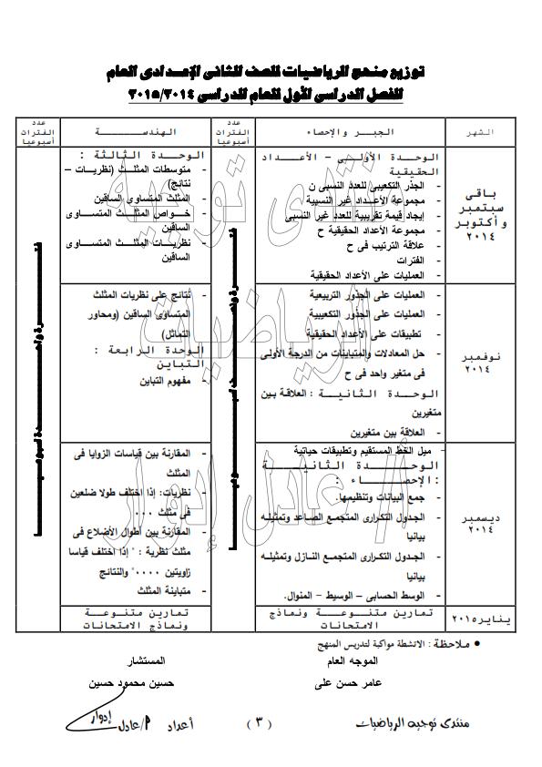 توزيع منهج رياضيات 2 اعدادي الترمين 2015