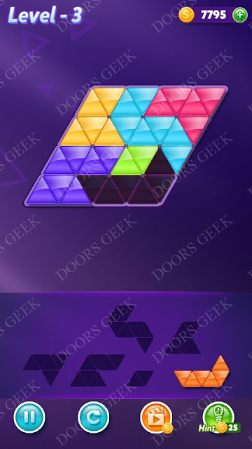 Block! Triangle Puzzle Intermediate Level 3 Solution, Cheats, Walkthrough for Android, iPhone, iPad and iPod