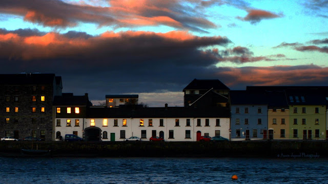 GALWAY CITY, Sunset, houses and boats