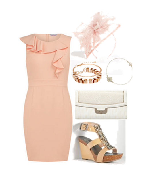 pink dress with fascinator
