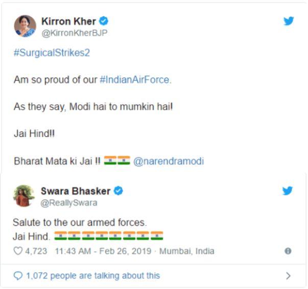bollywood actor tweet on surgical strike 2.0