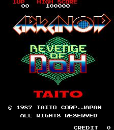 Imagen de la pantalla de inicio de Arkanoid 2, Revenge of DOH (1987)