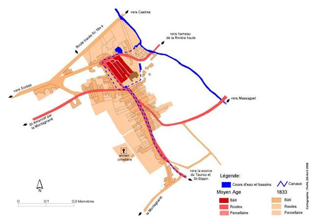 Plan historique de Dourgne piémont de la Montagne Noire Tarn