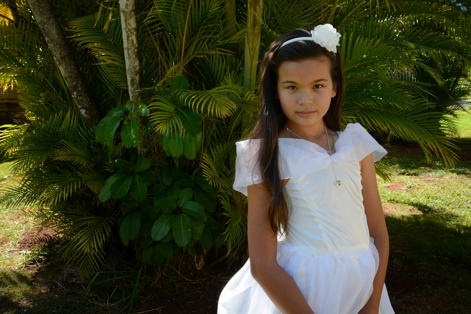 Little girl in white princess party dress