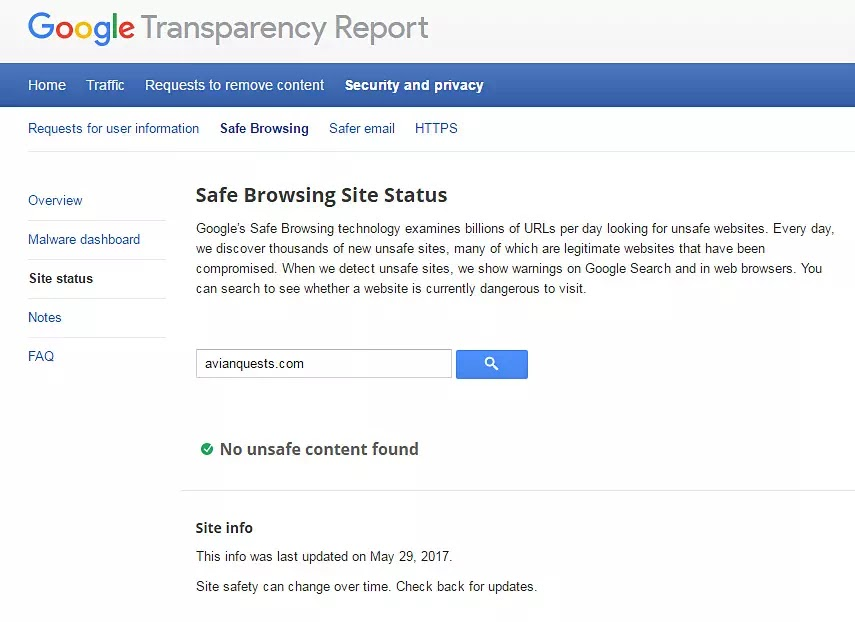 Google Transparency Report Avianquests.com no unsafe content found