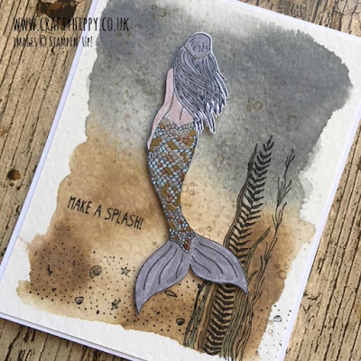 This is a picture of a grey and brown themed mermaid card made using the Magical Mermaid Stamp Set by Stampin' Up!