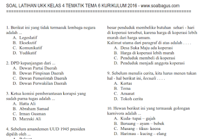 Soal UKK/ UAS Tematik Kelas 4 Tema 6 Semester 2 Kurikulum 2013
