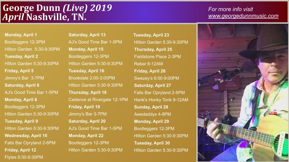 George Dunn Music: April 2019 Show Dates!