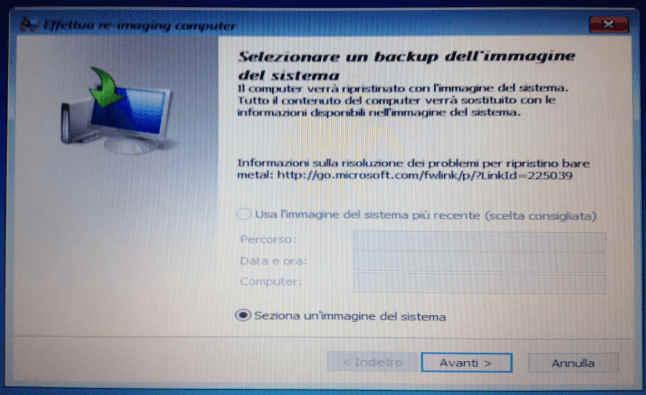 Selezionare un backup dell'immagine del sistema di Windows 10
