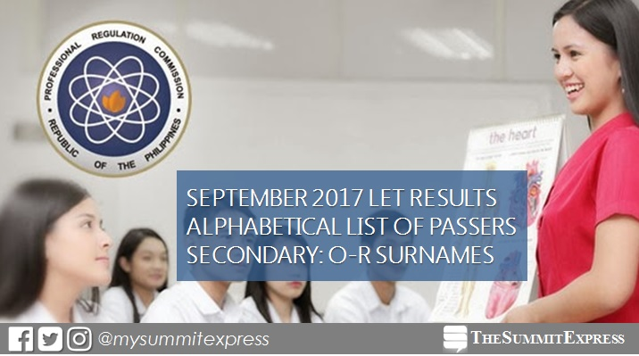 O-R Passers LET Exam Result Secondary Level September 2017