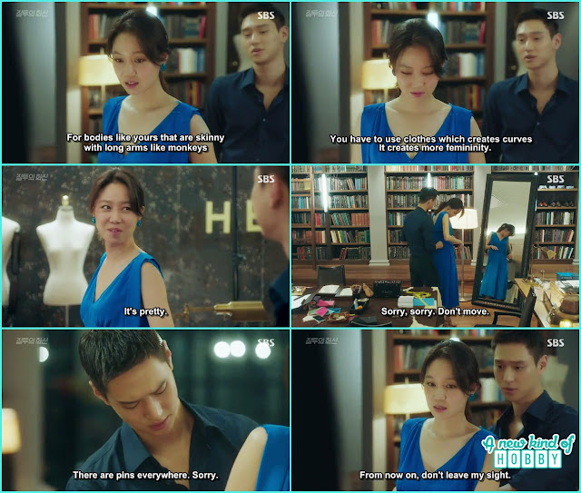 jung won make a beautiful blue dress for na ri weather broadcast - Jealousy Incarnate - Episode 8 Review