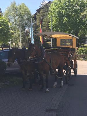 Pferdekuschte zur Hochzeit, Trachtenhochzeit in den Bergen, Dunkelrot und Creme, Rosen, Dirndl, Maihochzeit, Riessersee Hotel Garmisch-Partenkirchen, Bayern, Mountain wedding in Bavaria