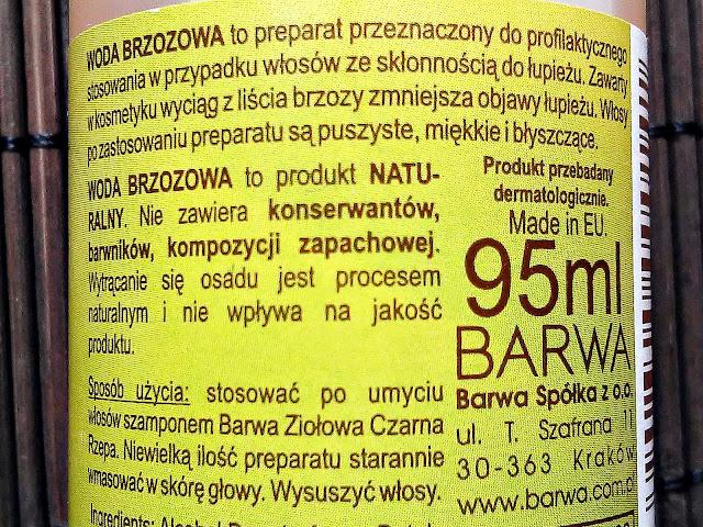 Barwa - Woda brzozowa - Preparat do włosów z łupieżem, etykieta