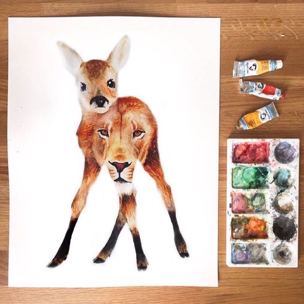 09-Baby-Deer-and-The-Lion-K-Schwarzoviously-Wildlife-Animal-Paintings-www-designstack-co