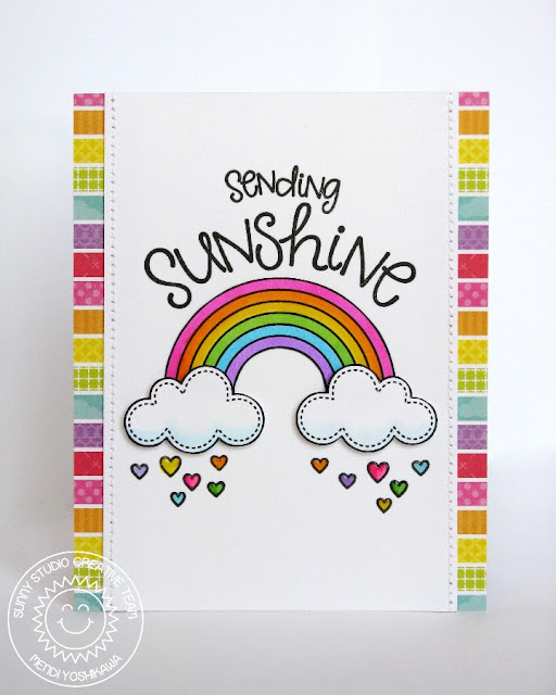 Sunny Studio Stamps Sending Sunshine Rainbow Card by Mendi (using Rain or Shine and Sunny Sentiments)