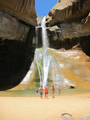 Photo of swimmers at Lower Calf Creek Falls