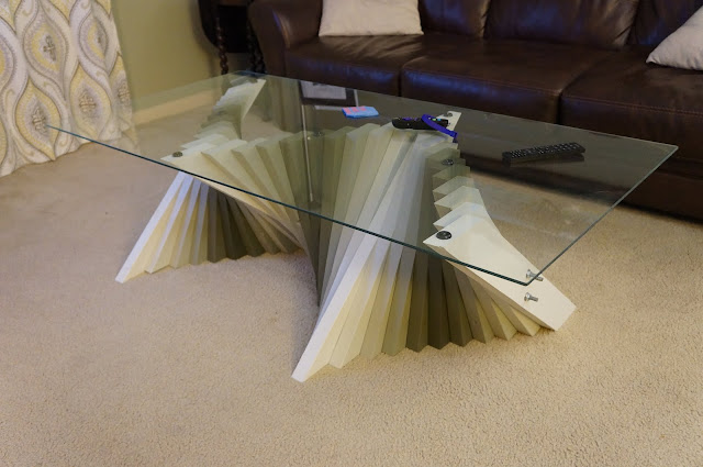 isometric view of coffee table using mitered 2x4s to create a wave effect