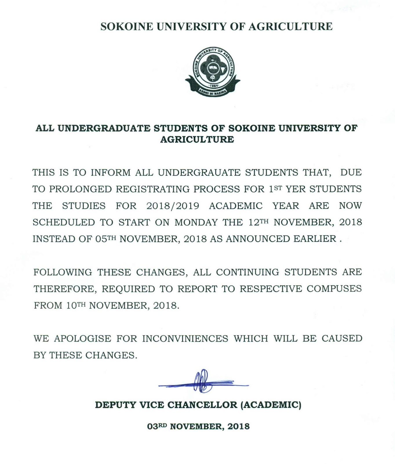 VERY IMPORTANT NOTICE TO ALL UNDERGRADUATE STUDENTS AT SOKOINE UNIVERSITY OF AGRICULTURE (SUA)