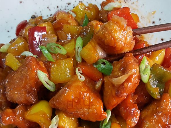 Pollo agridulce al más puro estilo chino, una delicia
