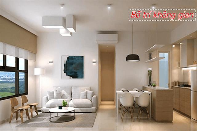 Bố trí không gian giữa các phòng trong căn hộ chung cư