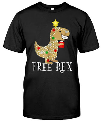 Dinosaur Christmas Tree Lights T Shirts Hoodie