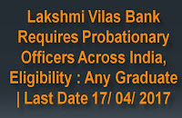 Lakshmi Vilas Bank Recruitment of  Probationary Officers Across India