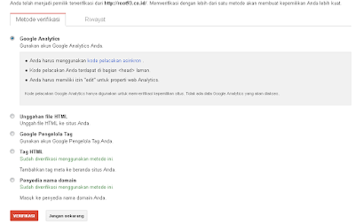 memilih Google Analytics untuk verifikasi