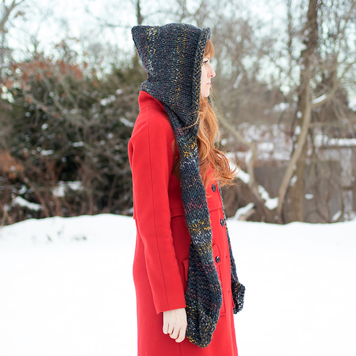 EASY Hooded Scarf Free Knitting Pattern by Gina Michele