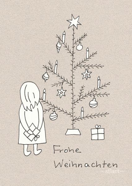 Frohe Weihnachten, Weihnachtskarte, Illustration