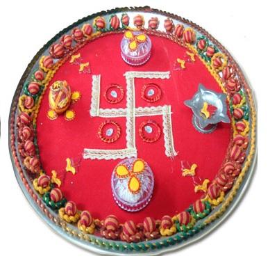 Diwali puja thali diwali pooja thali decoration ideas for Aarti thali decoration ideas for ganpati