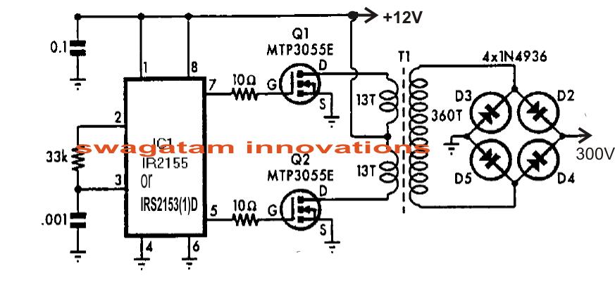 555 Dc To Ac Inverter Mos Fet Schematic, 555, Free Engine