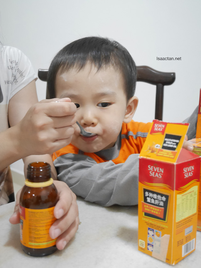Karlson loves taking his Seven Seas Multi-Vitamin Syrup with Cod Liver Oil
