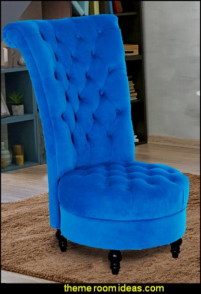 Tufted High Back Velvet Accent Chair - Blue  fun and funky - cute and colorful  - chic and trendy decorating ideas - unique decor - girls bedroom decor - colorful decor  - decorating with color - color inspiration decorating ideas - colorful bedrooms - colorful furniture - colorful bedding -