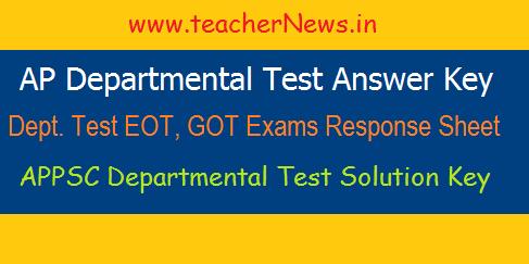 AP Department Test Exams Response Sheet- Dept Test Answer Key
