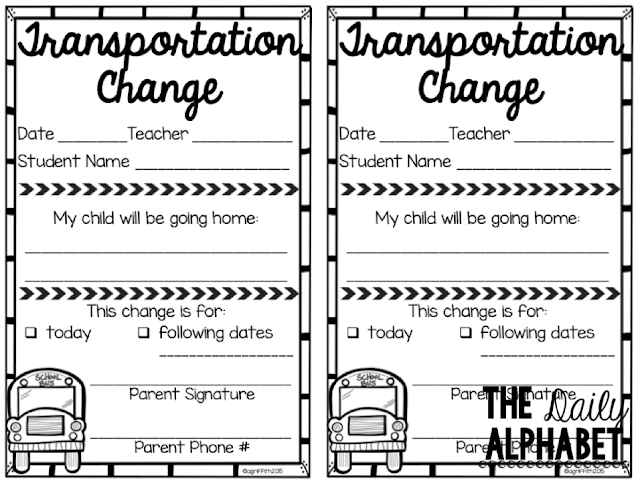 Dismissal time on the first day of school can be stressful! Check out this tried and true way of keeping track of transportation changes!