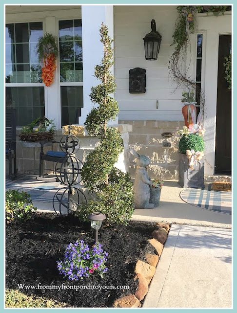 Spring Easter Front Porch-DIY-Carrot Wreath-Topiaries-Bunnies-Curb Appeal-From My Front Porch To Yours