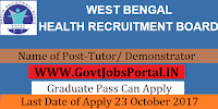 West Bengal Health Board Recruitment 2017- 160 Tutor/ Demonstrator