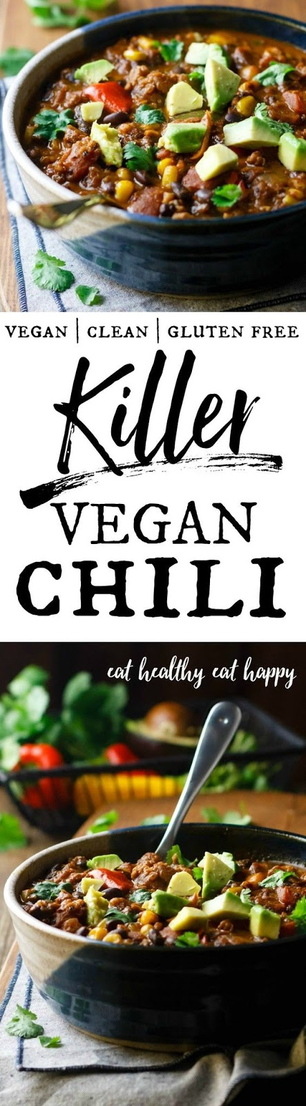 Killer Vegan Chili - hold on to your soup spoons, 'cause this is some killer chili. It's hearty, spicy and packed with slow-cooked flavor! A great source of fiber, vitamins, nutrients and vegan protein.