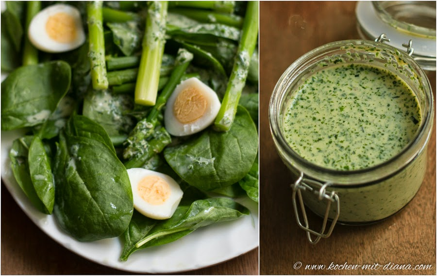 Spinat-Spargel Salat mit Wachteleier