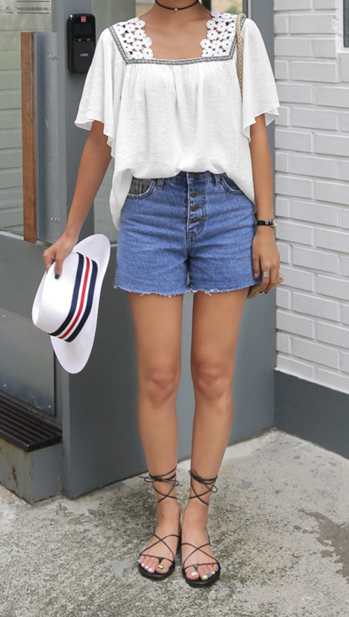 4 Button High Waisted Denim Shorts