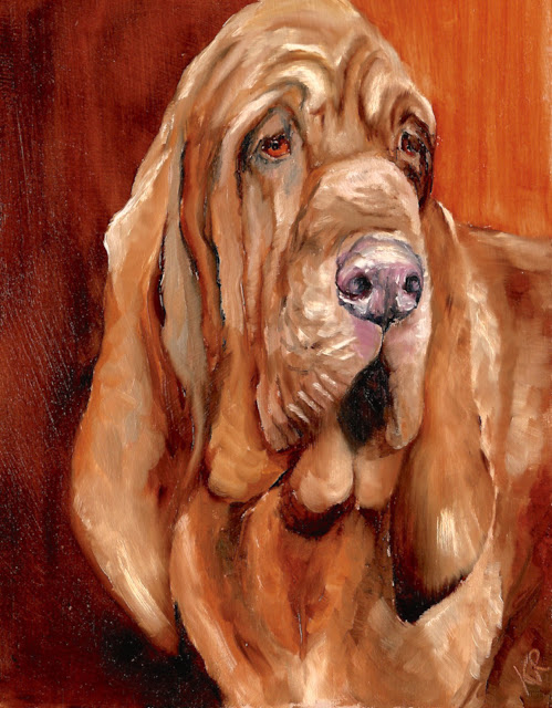 oil painting of a bloodhound