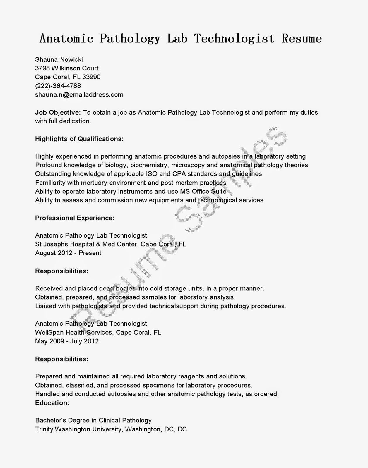 resume samples  anatomic pathology lab technologist resume