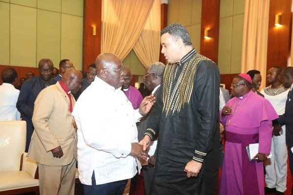 Bishop Dag Heward-Mills Shake (Right) hands with President Nana Addo Dankwa Akufo-Addo