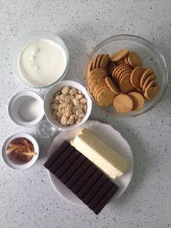 Ingredientes tarta de chocolate, almendras y naranja