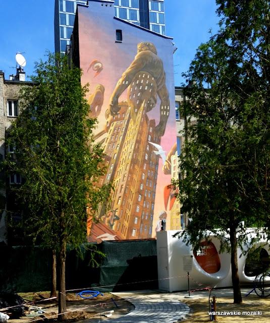 Warszawa Warsaw mural ściana Warsaw Spire