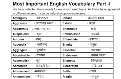Most Important English Vocabulary with Hindi Meaning in pdf