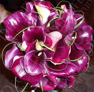 Menyasszonyi csokor padlizsán lila kálából, gyöngyökkel